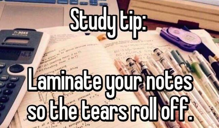Study Tip Laminate Your Notes So the Tears roll off